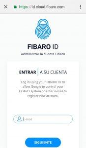 Login en FIBARO ID. desde App Google Home