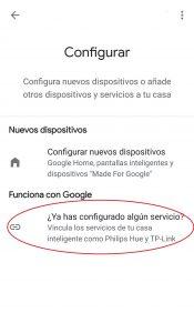 Agregar servicios en Google Home